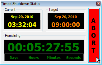 Timed Shutdown - Automatically shutdown your computer with a variety